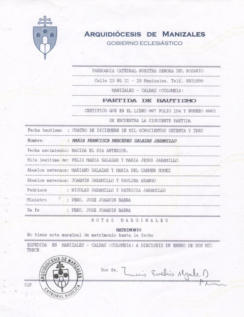 Registro De Matrimonio Catolico En Notaria : Registros parroquiales partidas de bautismo en colombia