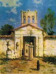 Antigua Portada del Cementerio Central de Bogotá en 1876. Öleo de Luis Nuñez Borda.