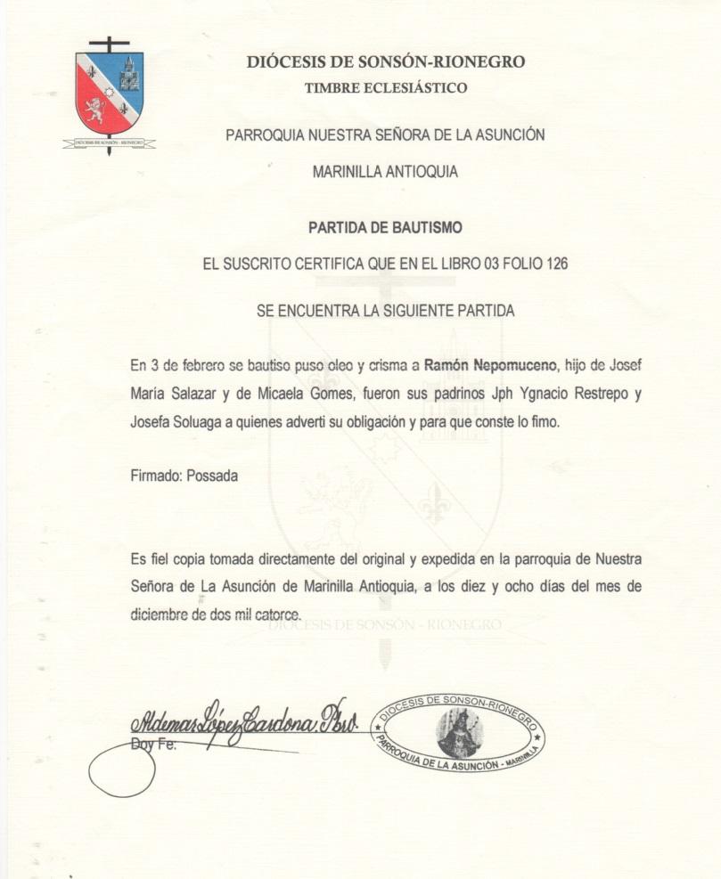 Partida De Matrimonio Catolico En Colombia : Registros parroquiales partidas de bautismo en colombia